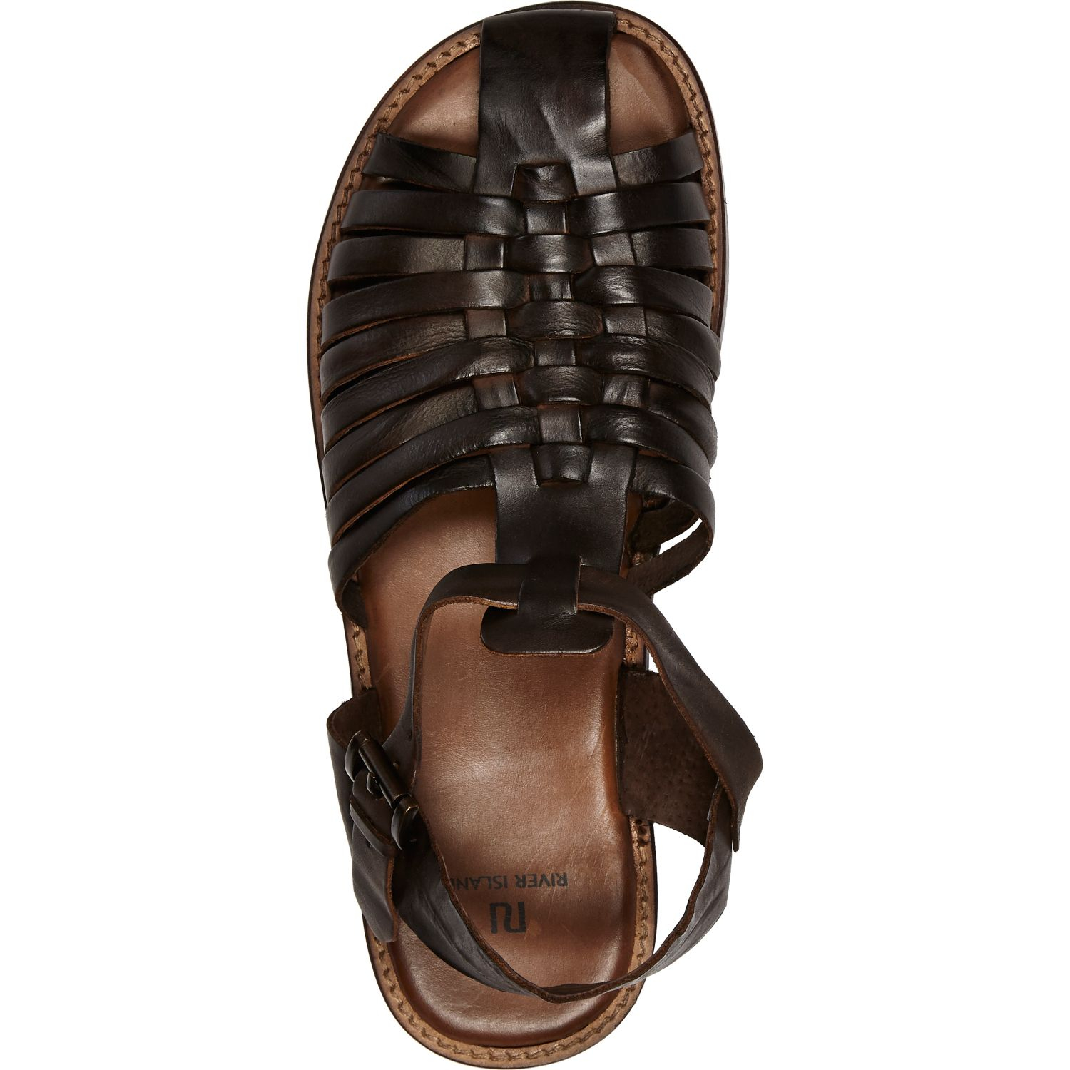 River Island Dark Brown Gladiator Sandals In Brown For Men
