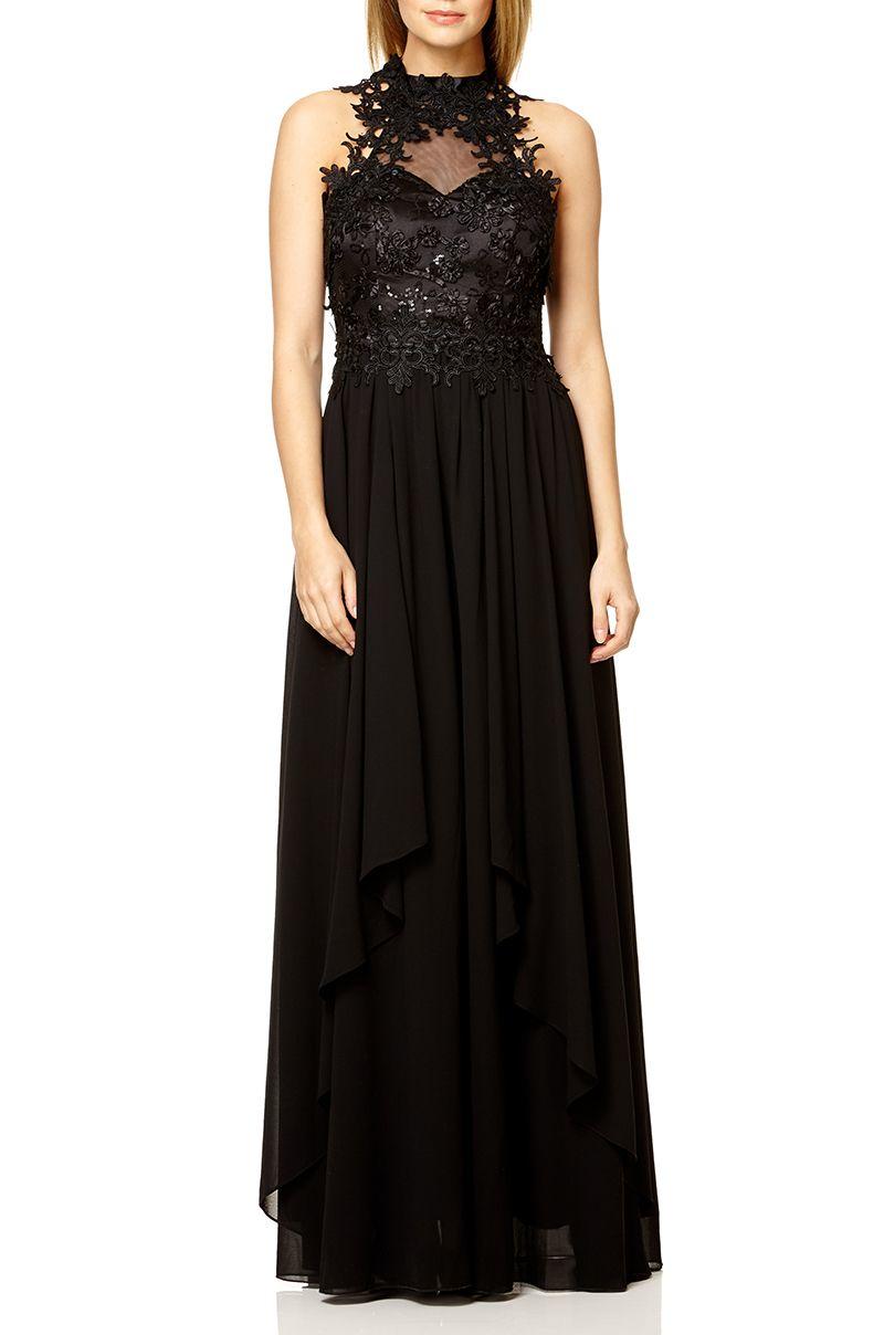 Quiz black lace waterfall maxi dress in black lyst for Waterfall design dress