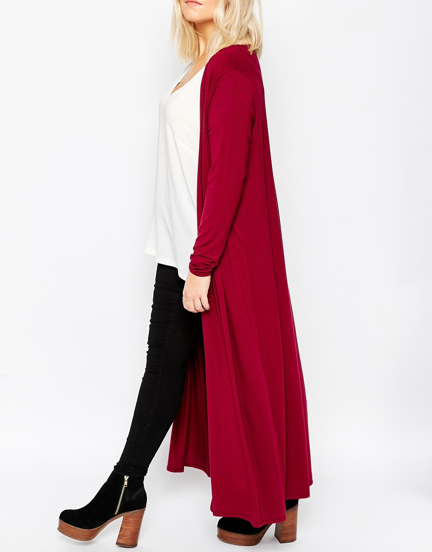 Asos Longline Maxi Cardigan In Wine in Purple | Lyst