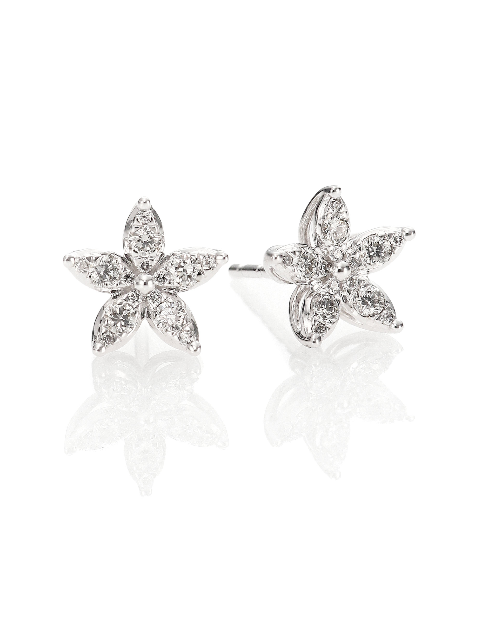 stud cubic silver earrings p flower zirconia white small