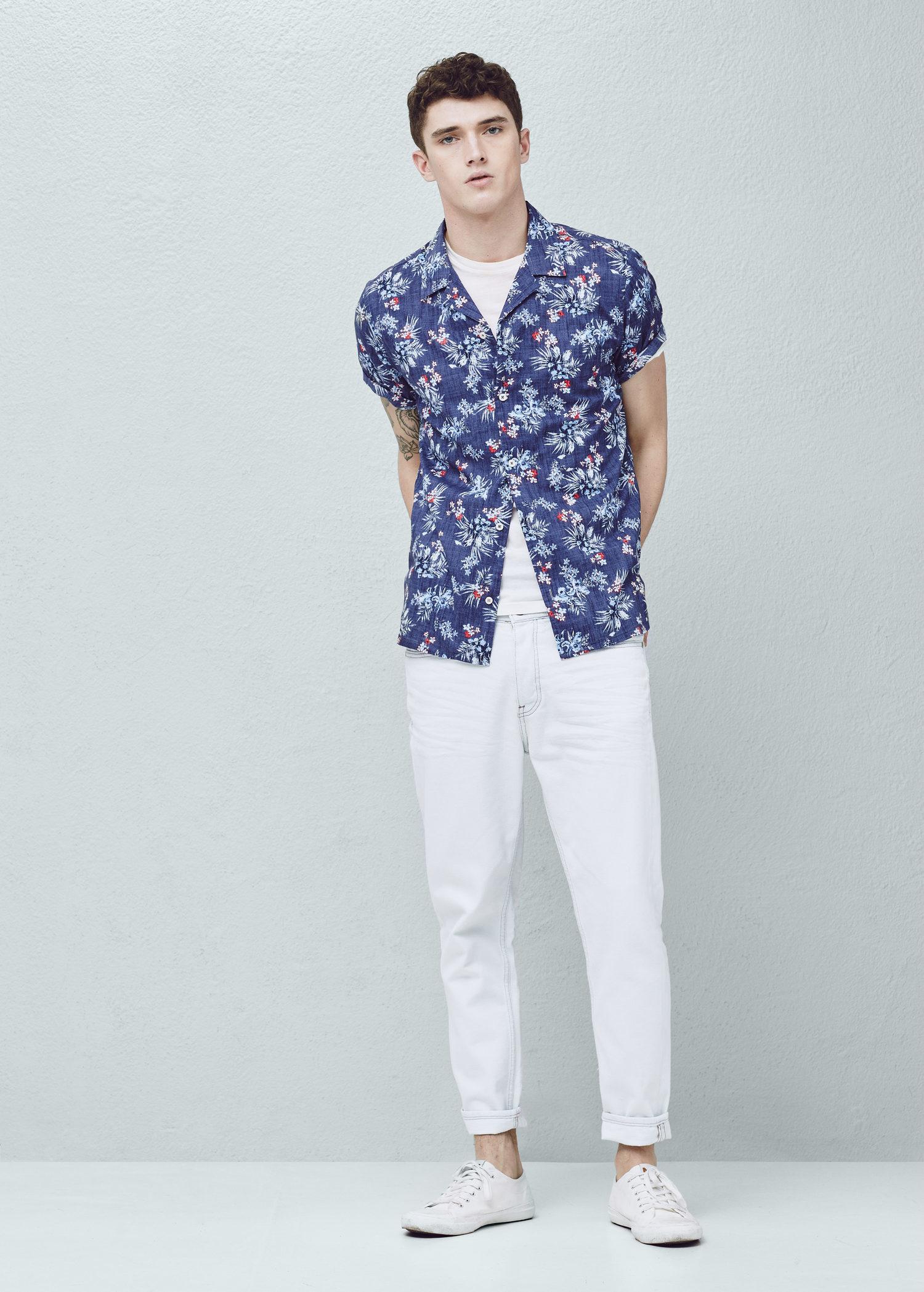 Lyst mango regular fit floral print shirt in blue for men for Blue floral shirt mens