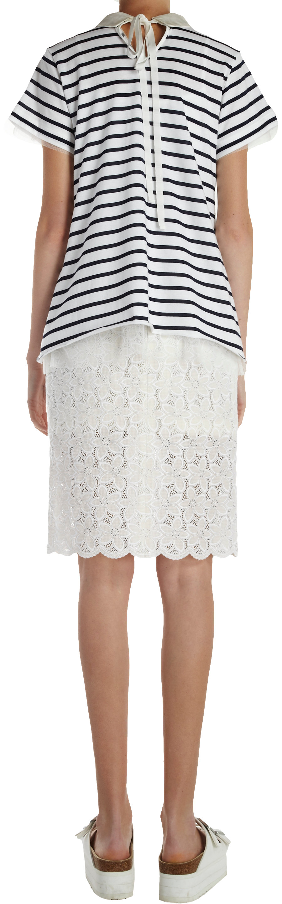 sacai floral lace pencil skirt in white lyst