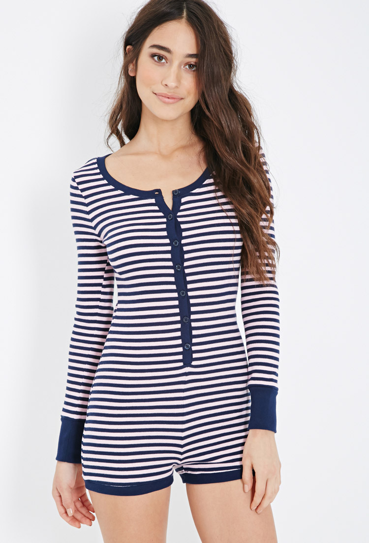 Lyst - Forever 21 Striped Thermal Pj Romper in Blue 355ef25a1