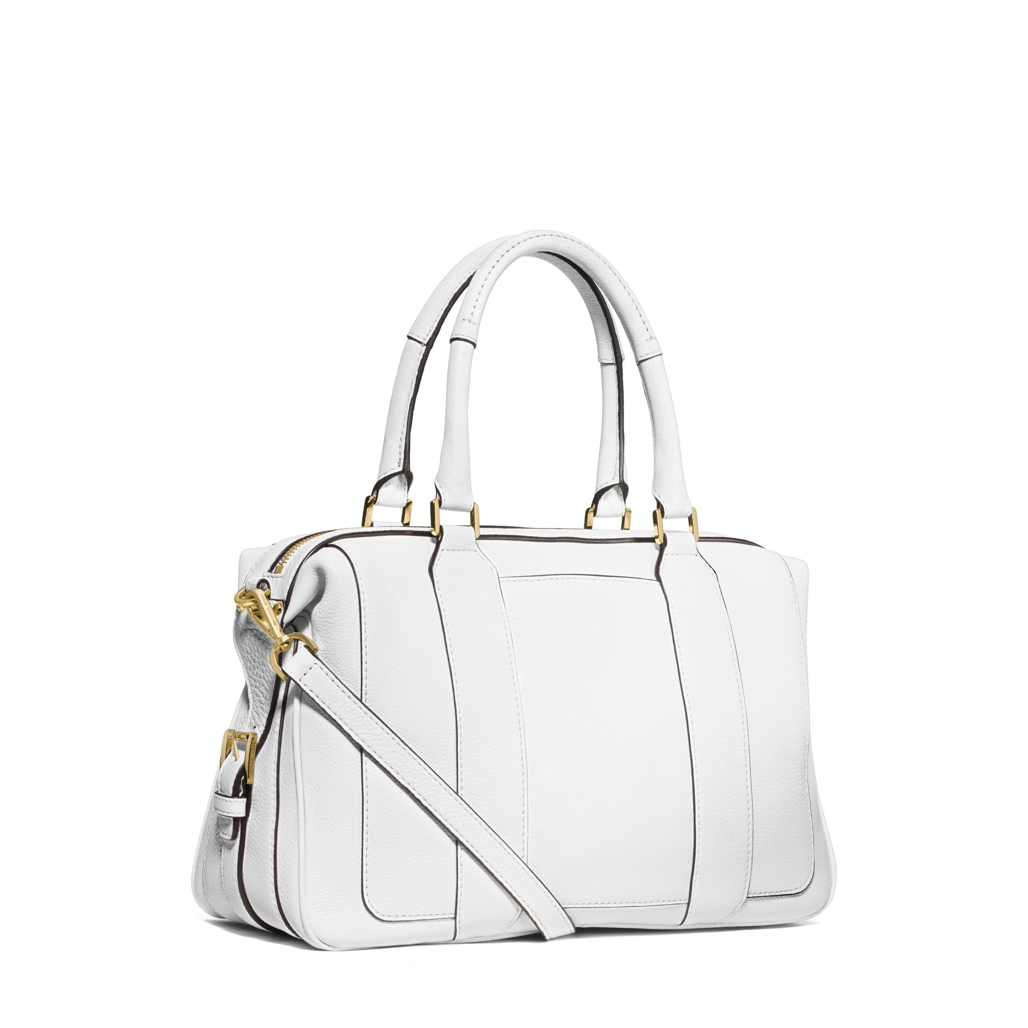 ced4727bdf4c ... official store michael kors julia large leather satchel in white lyst  1b296 e2313