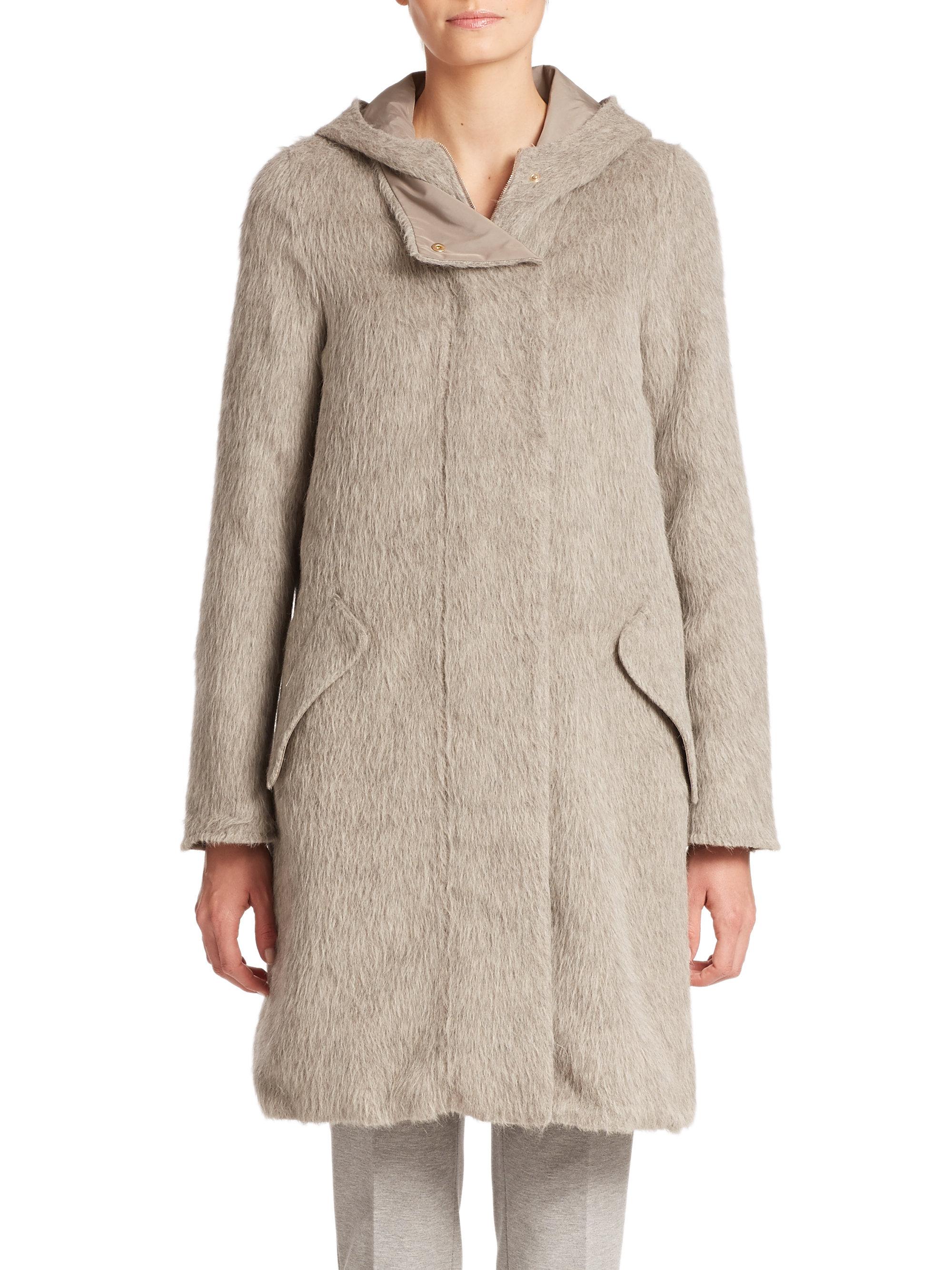 Max Mara Arles City Reversible Alpaca Coat In Gray Lyst