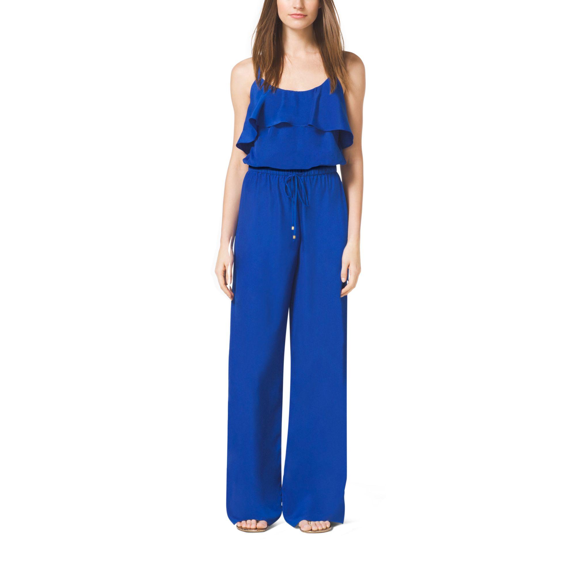 michael kors flounce crepe jumpsuit in blue lyst. Black Bedroom Furniture Sets. Home Design Ideas