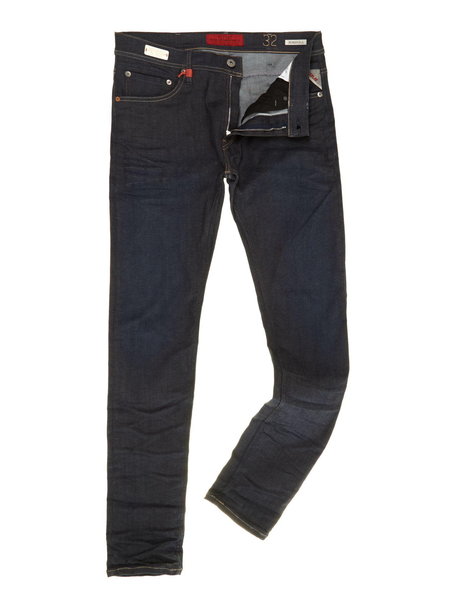 replay jondrill hyperflex skinny fit jeans in blue for men. Black Bedroom Furniture Sets. Home Design Ideas