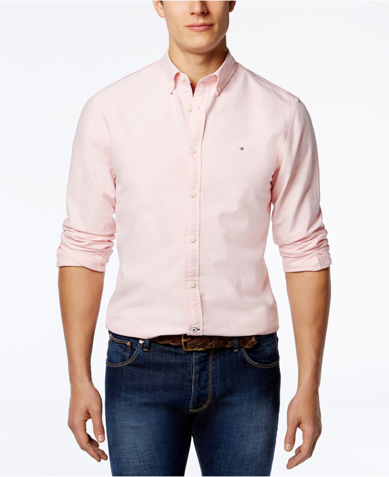 Tommy hilfiger men 39 s new england solid oxford shirt in for Pink oxford shirt men