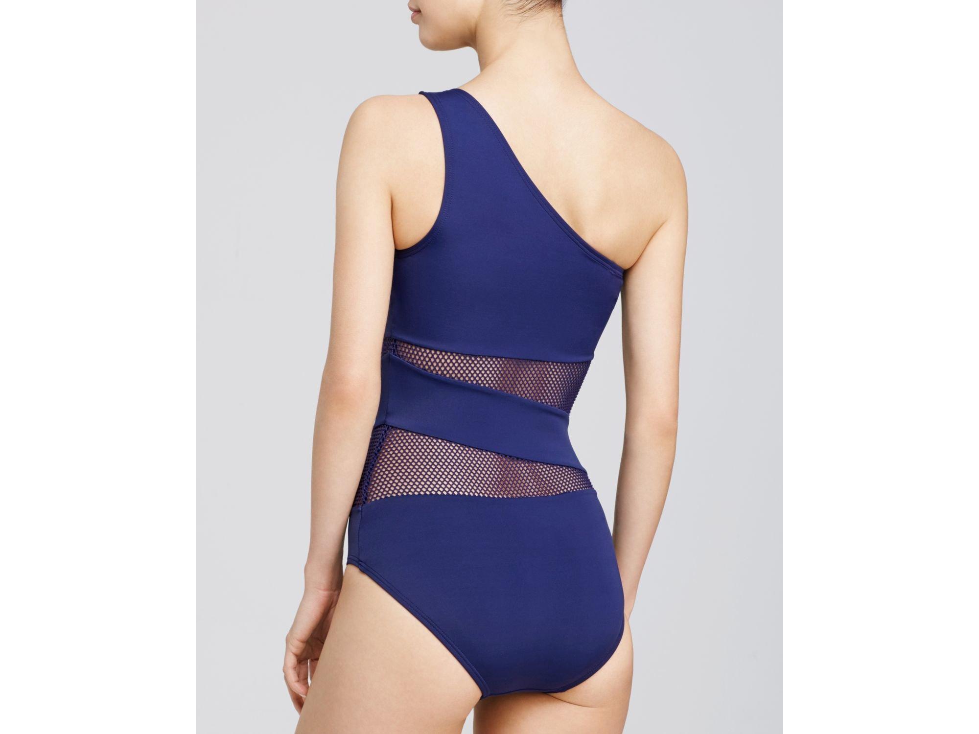 fee00a23e9ea5 DKNY Mesh Effect One Shoulder One Piece Swimsuit in Purple - Lyst