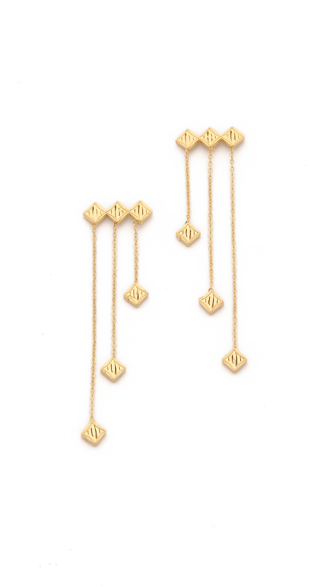 Lyst - Vanessa mooney Thunderstruck Hanging Earrings - Gold/clear ...