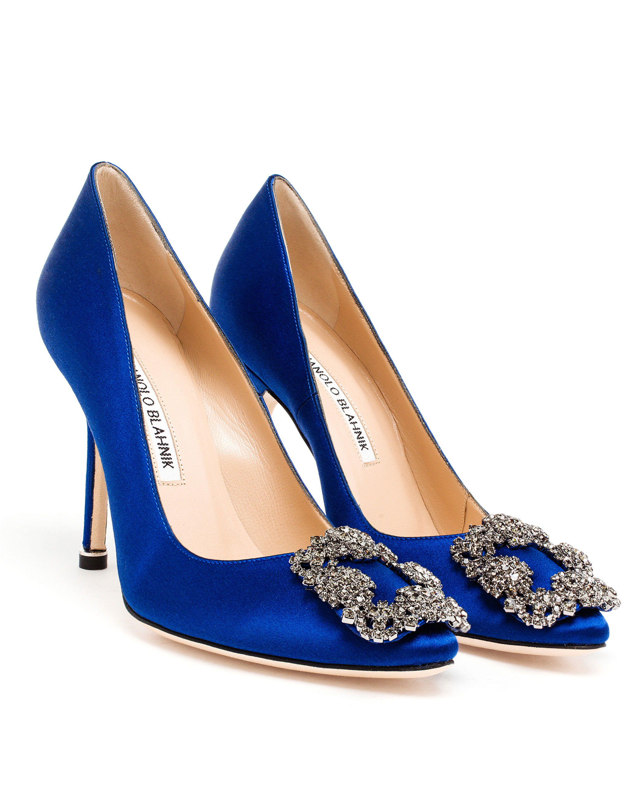 Lyst manolo blahnik hangisi embellished satin pumps in blue for Shoes by manolo blahnik