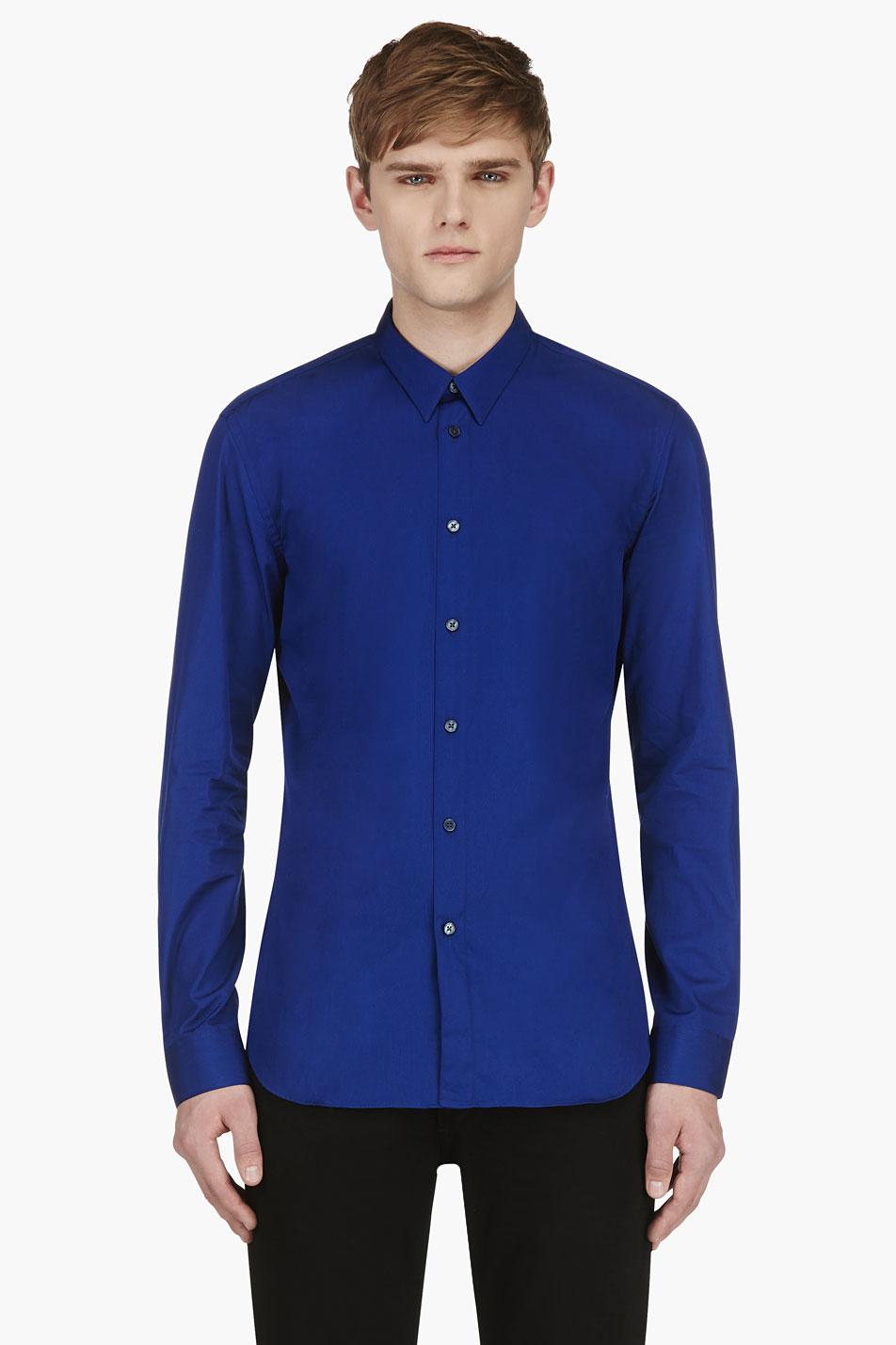 Calvin Klein Royal Blue Slim Fit Button Down Shirt In Blue