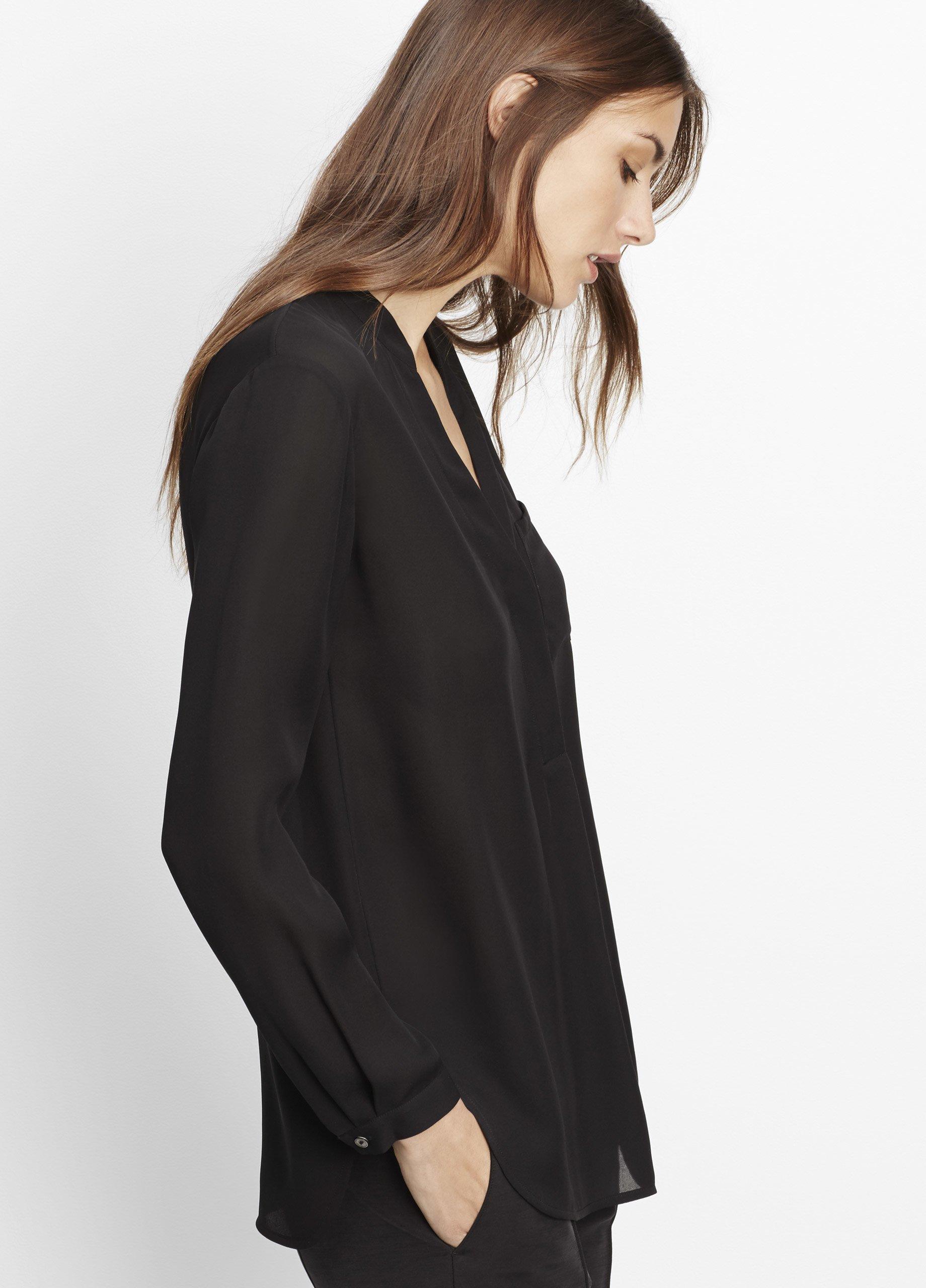 1844464e2dbb45 Lyst - Vince Silk Long Sleeve Popover Blouse in Black
