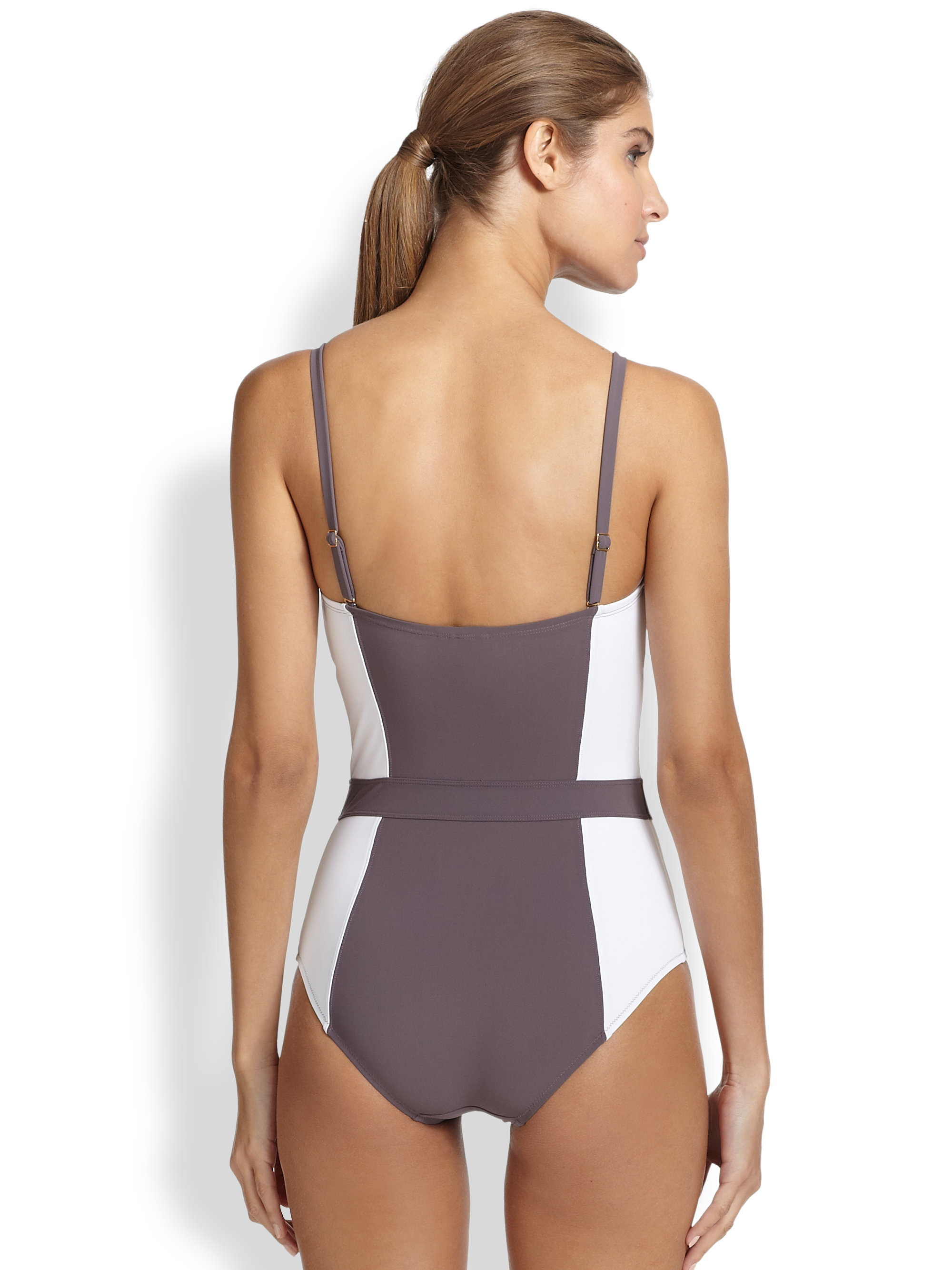 55c346dab5674 Tory Burch Colorblock One-piece Swimsuit in Gray - Lyst