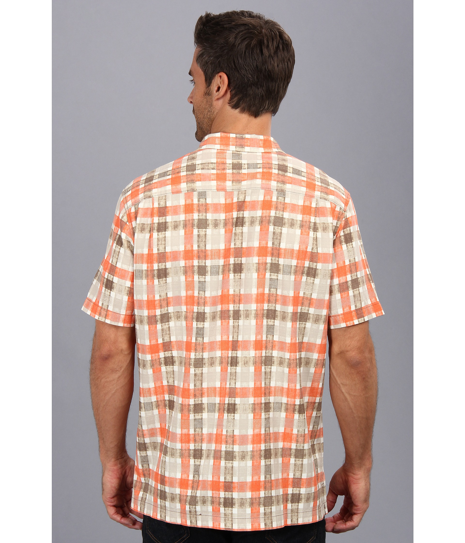 Tommy bahama island modern fit plaid impressions ss camp for Tommy bahama christmas shirt 2014