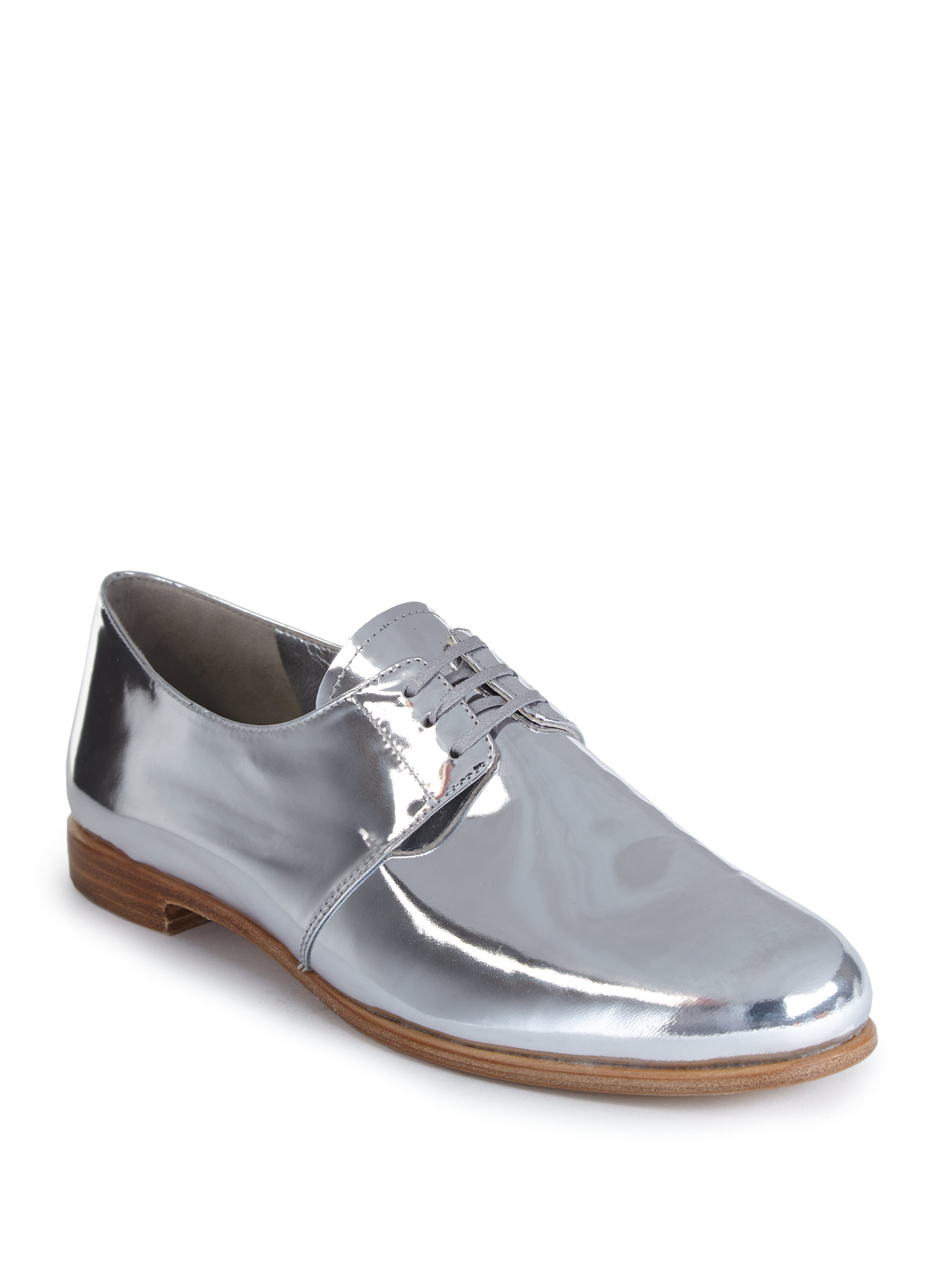 23a56b8b70 Lyst - Prada Metallic Leather Lace-up Oxfords in Metallic