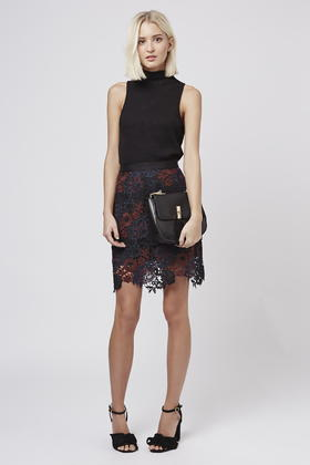 Topshop Tall Lace A-line Skirt in Black | Lyst