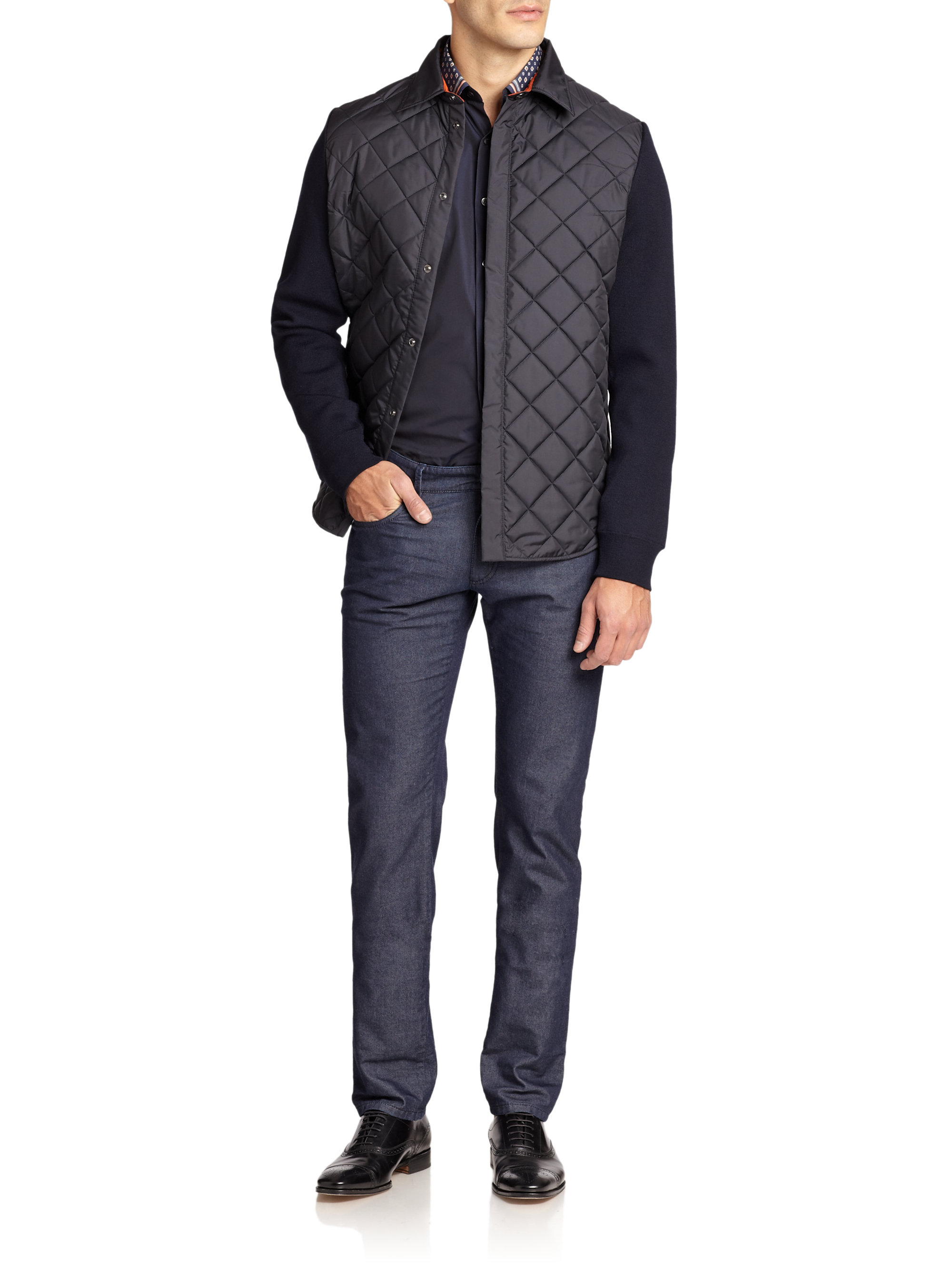 Lyst Ferragamo Quilted Shirt Jacket In Black For Men