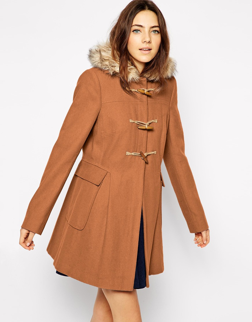 Asos Faux Fur Hooded Duffle Coat in Brown | Lyst