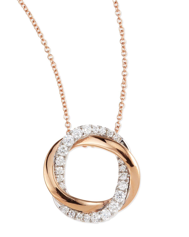 Frederic Sage 18K Gold Interlocking Halo Diamond Pendant Necklace A51o6CPnH