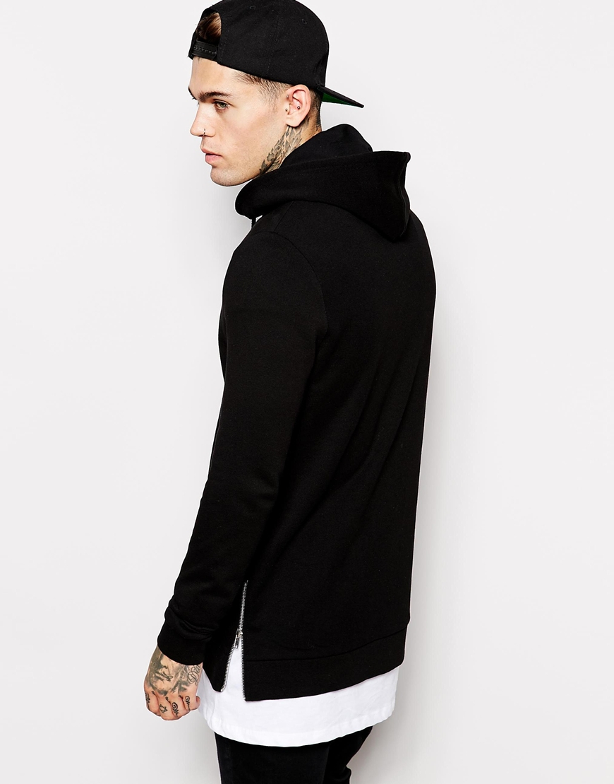 Asos Longline Zip Up Hoodie With Side Zips in Black for Men | Lyst