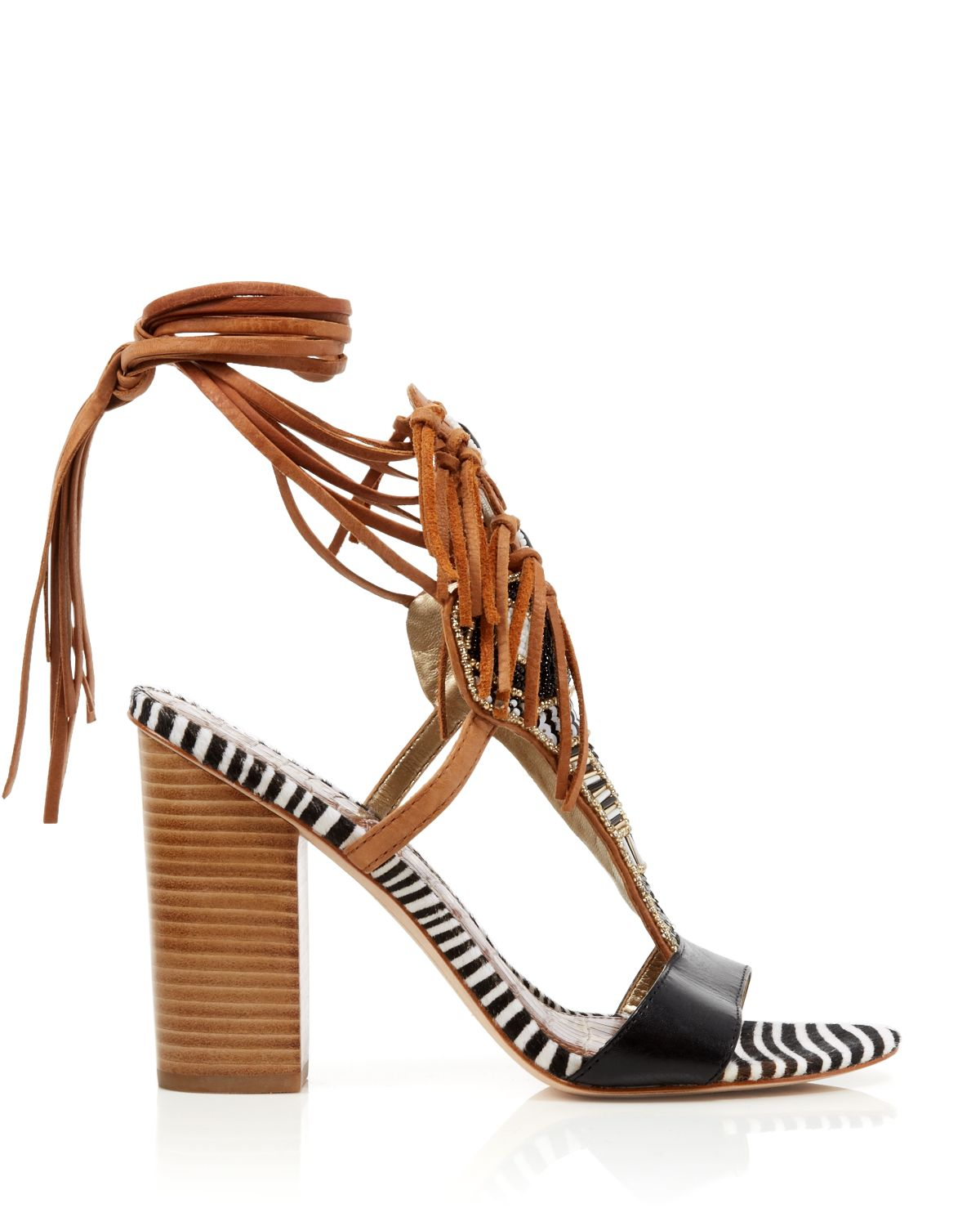 48c215148 Sam Edelman Sandals - Yates Tribal Beaded Wraparound High Heel in ...