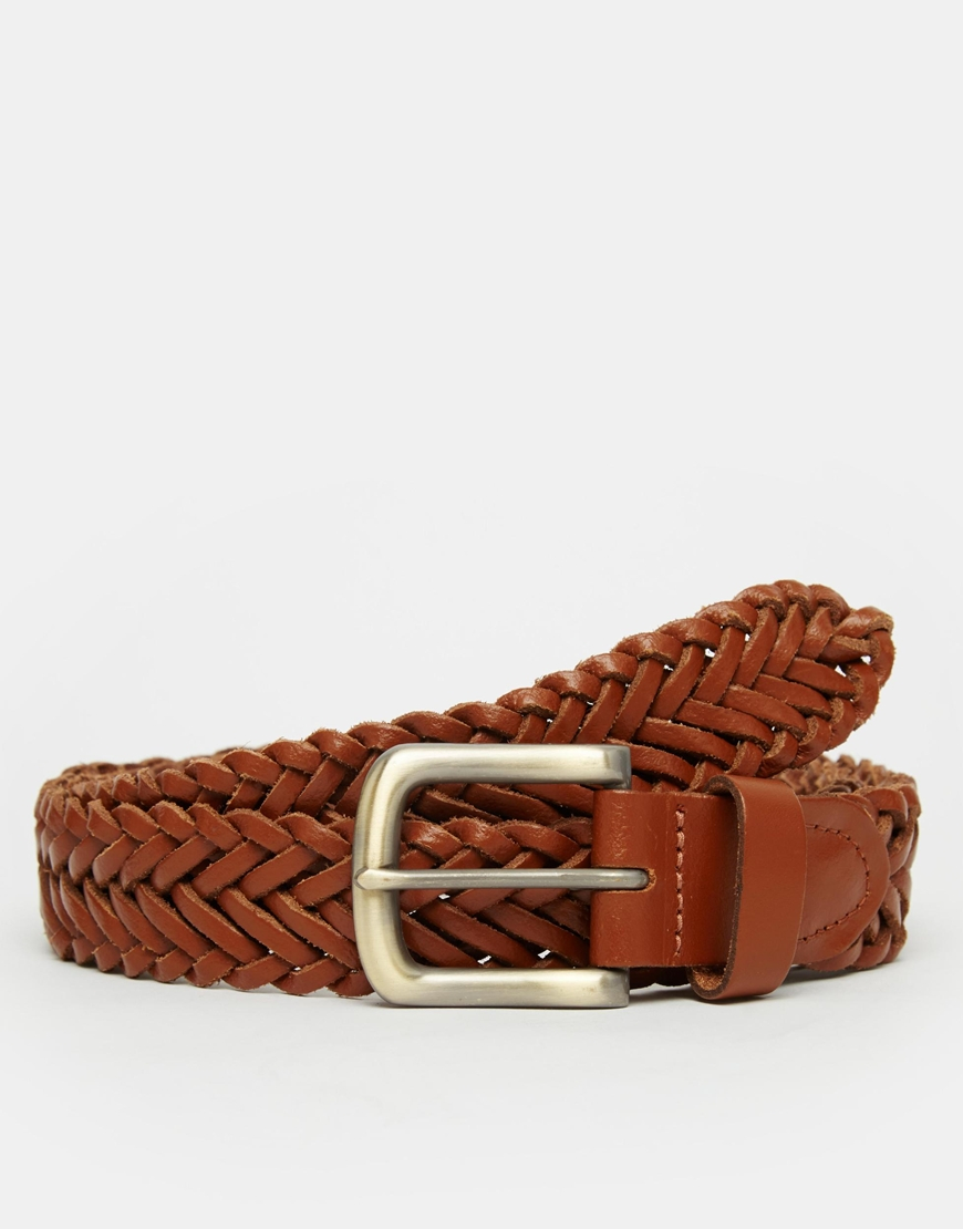 asos leather plaited belt in in brown for lyst
