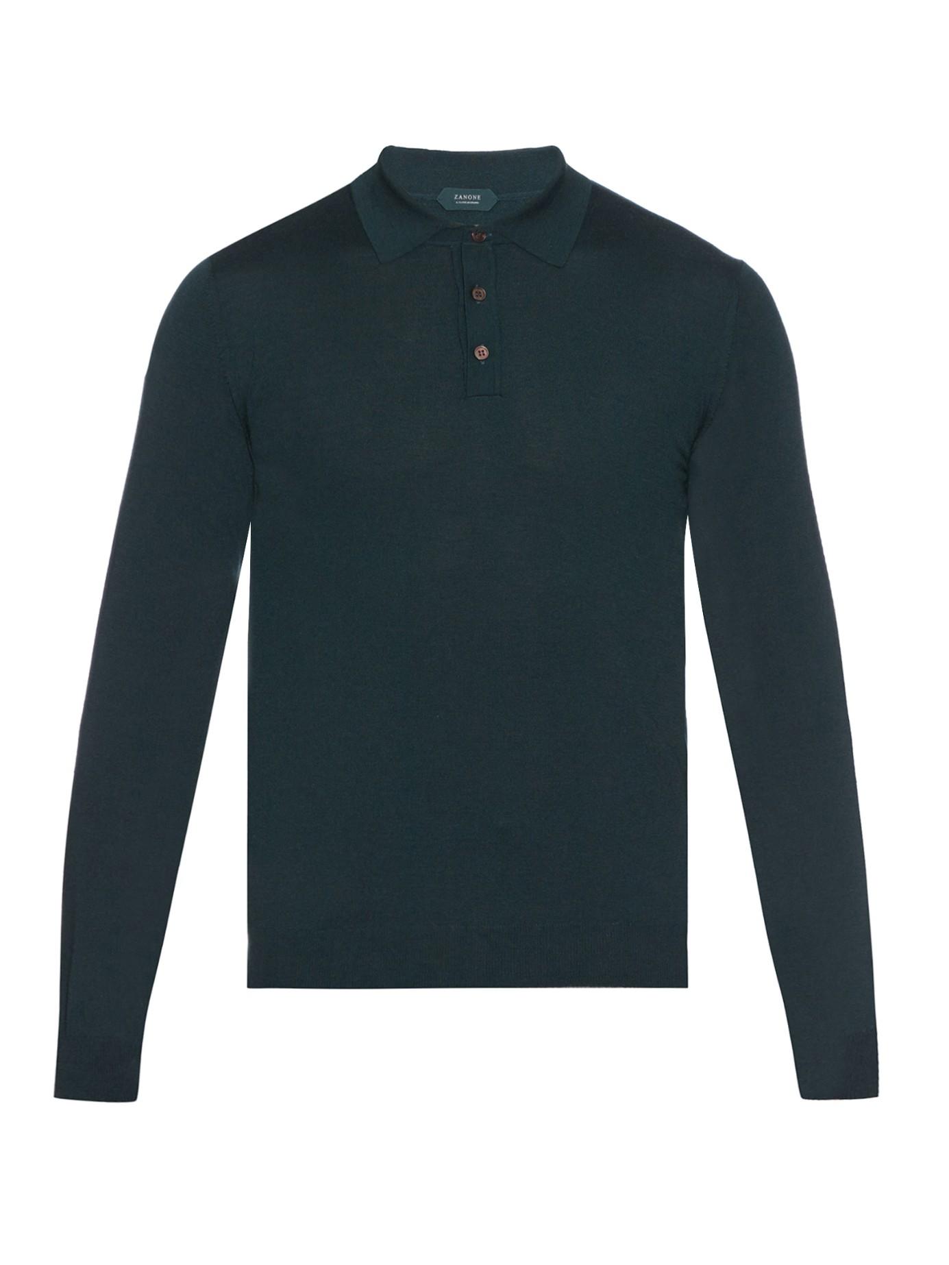 Zanone long sleeved virgin wool blend polo shirt in green for Long sleeve wool polo shirts