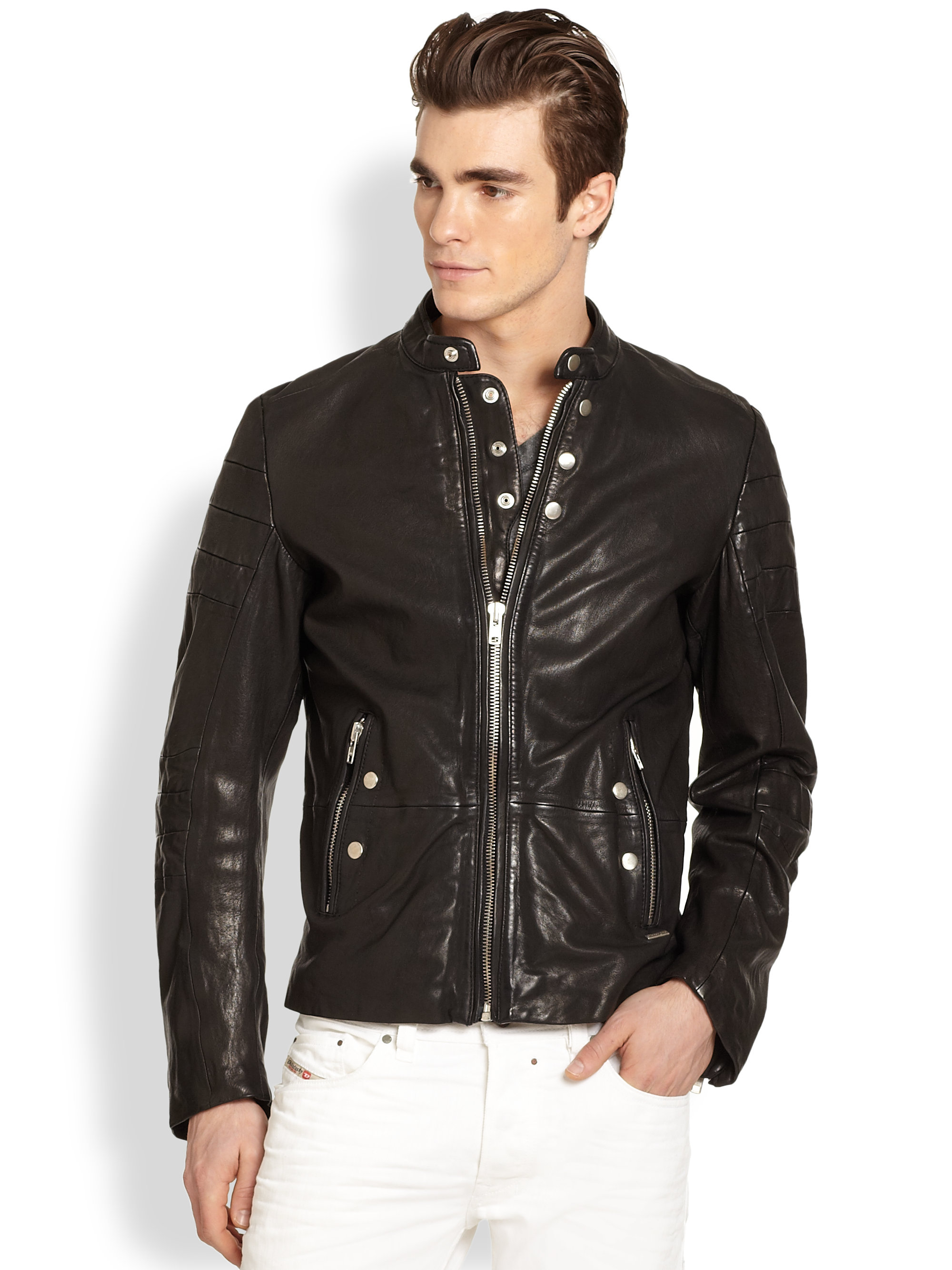 Diesel Ayme Leather Jacket in Black for Men | Lyst