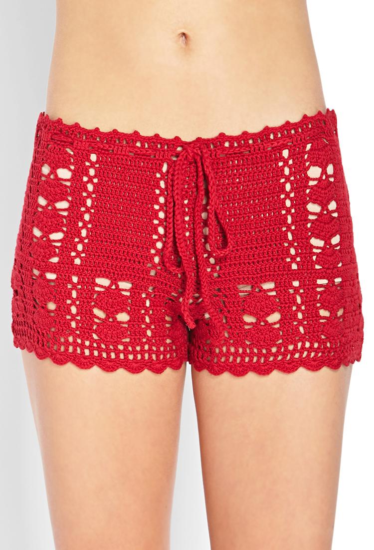 Forever 21 Dream Weaver Crochet Shorts in Red | Lyst