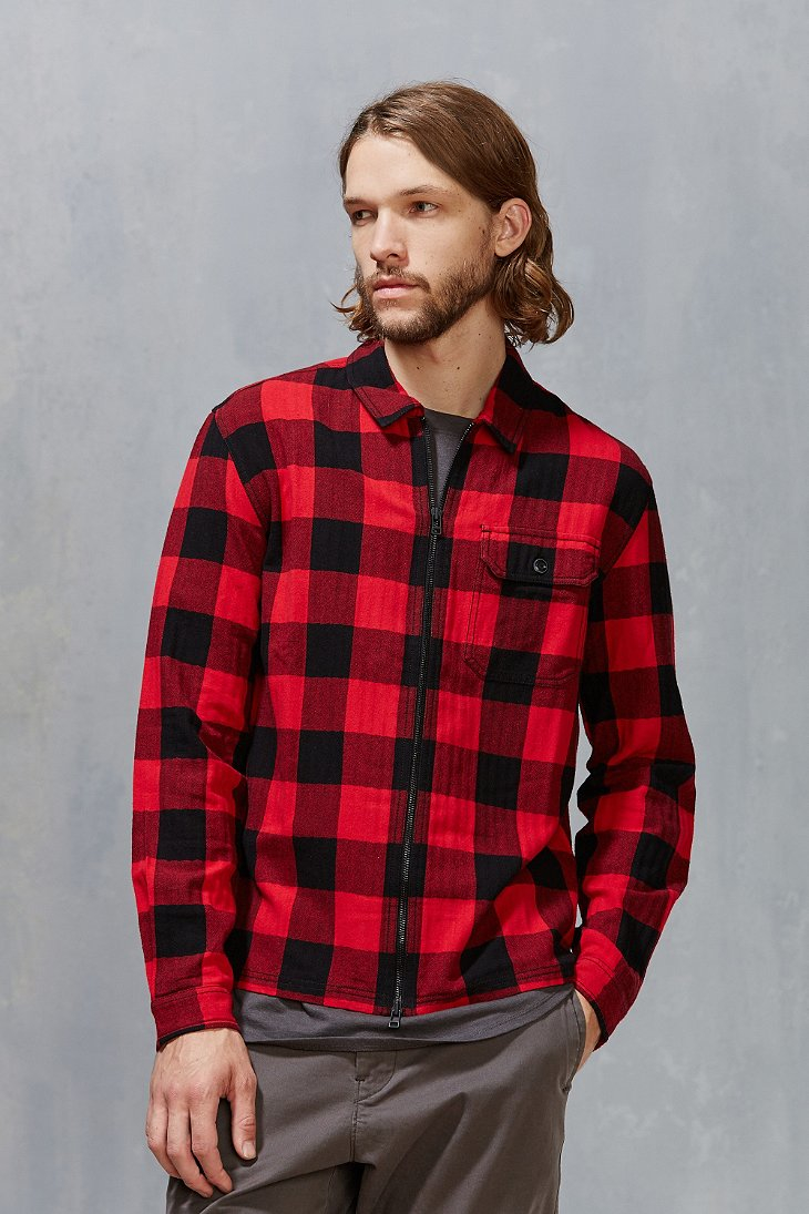 Stapleford Buffalo Plaid Flannel Zip Shirt In Red For Men