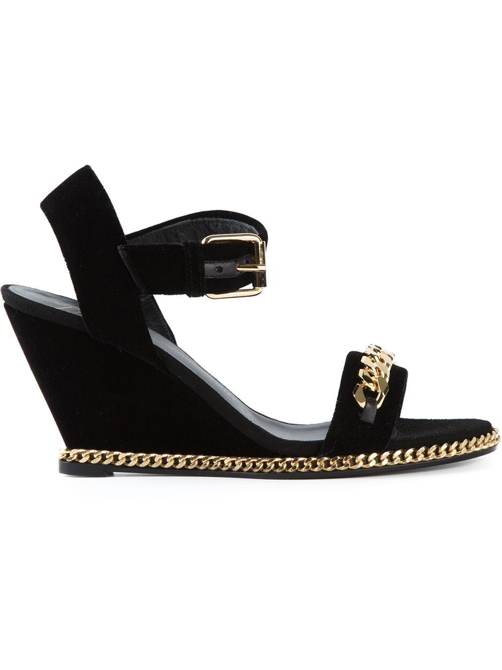 giuseppe zanotti gold chain wedge sandals in gold black