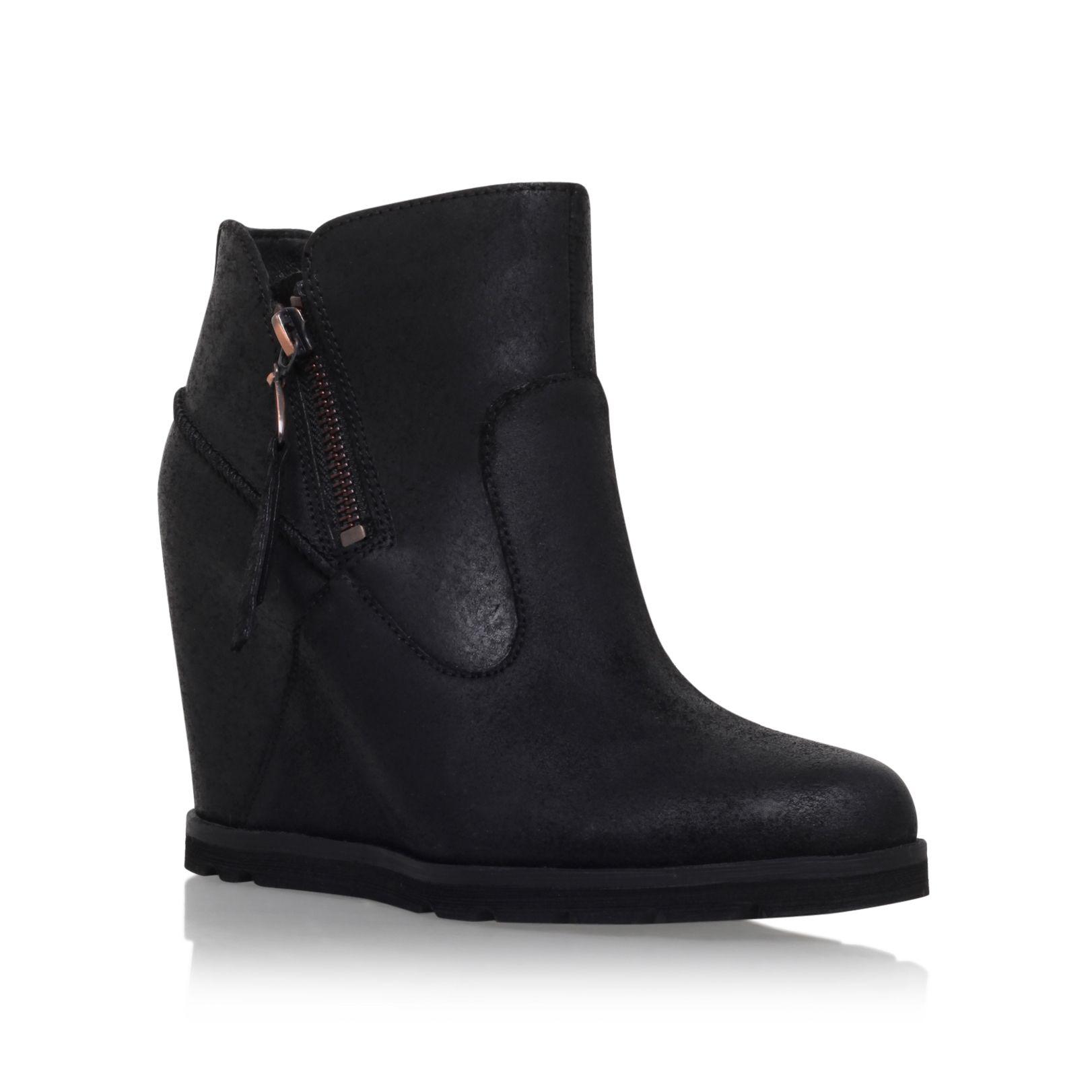 ugg myrna wedge heel ankle boots in black lyst