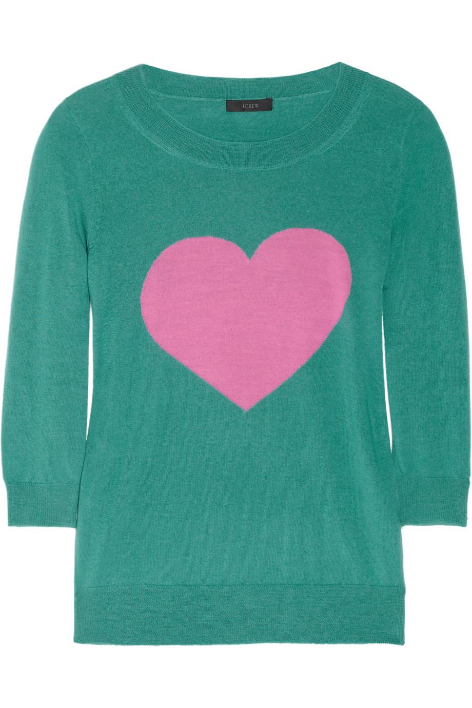 Wool Sweater Grey: J.crew Tippi Fineknit Merino Wool Heart Sweater In Green