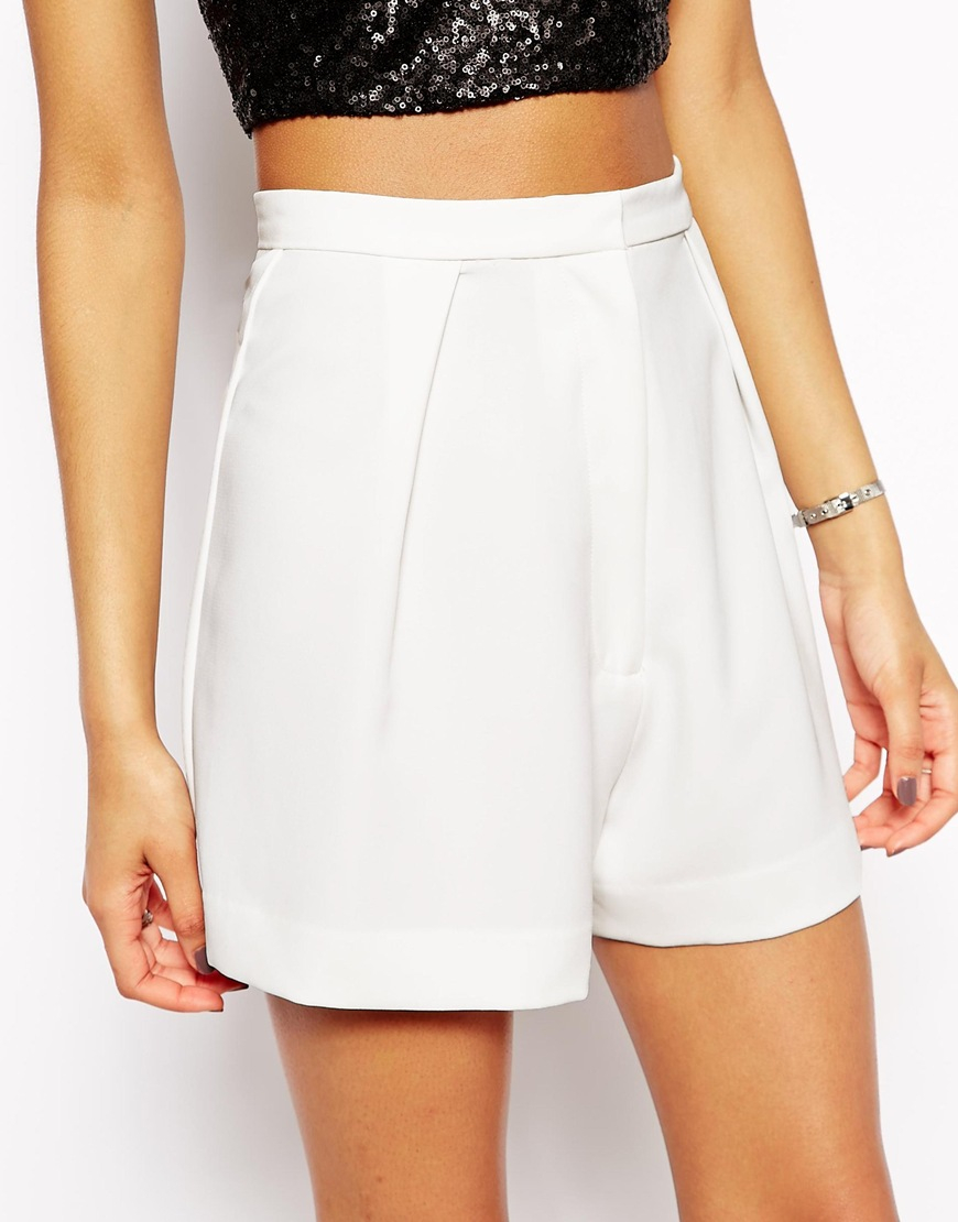 Aq/aq Dillian High Waist Shorts in White | Lyst