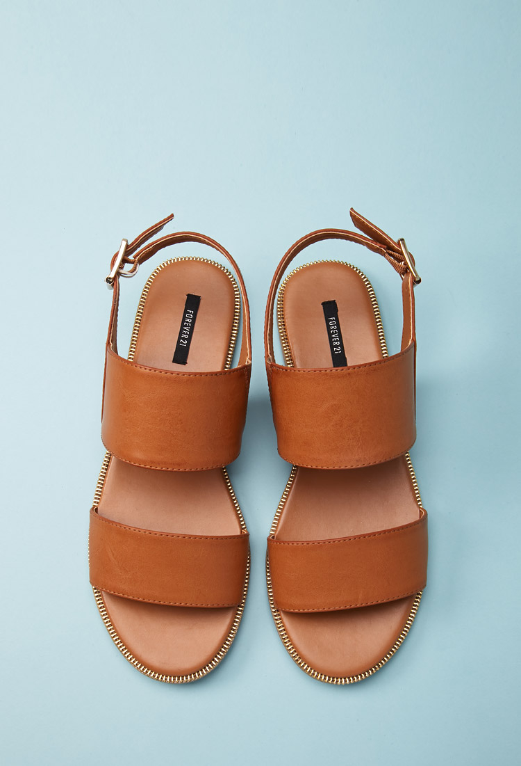 3f8c80a6548 Lyst - Forever 21 Faux Leather Slingback Sandals in Brown