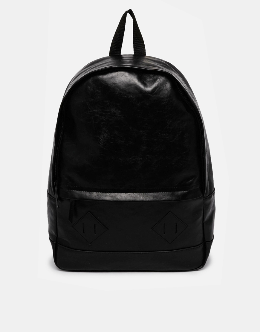 Asos Backpack In Black Faux Leather in Black for Men | Lyst