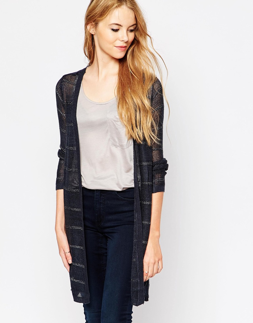 Vila Longline Lightweight Cardigan in Black | Lyst