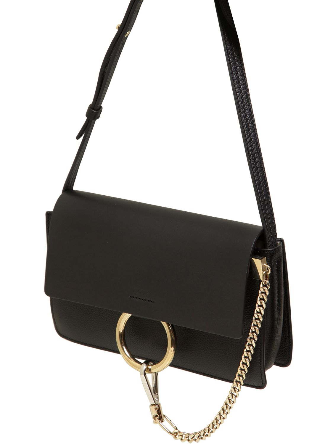 Lyst - Chloé Small Faye Grained   Smooth Leather Bag in Black 24b0ffd7b8