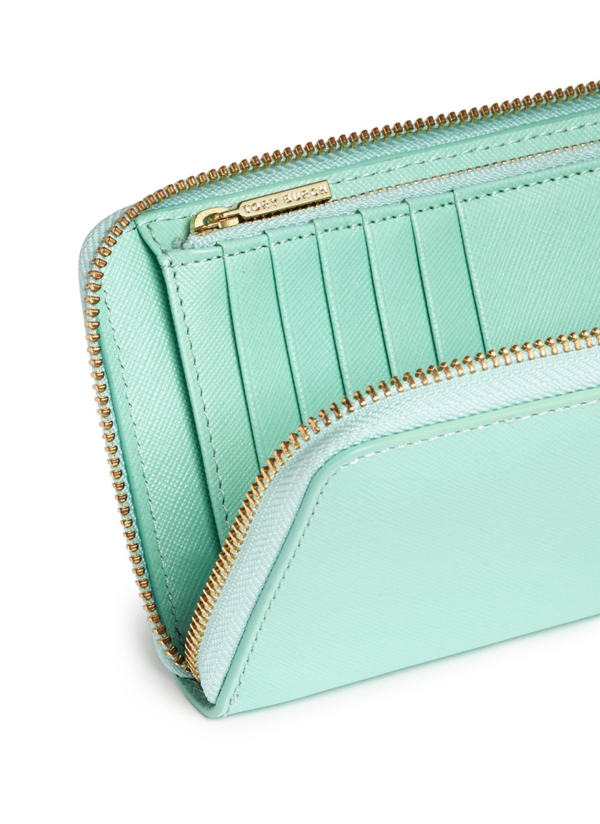 b55f1c72981 Tory Burch 'robinson' Mini Zip Continental Wallet in Green - Lyst