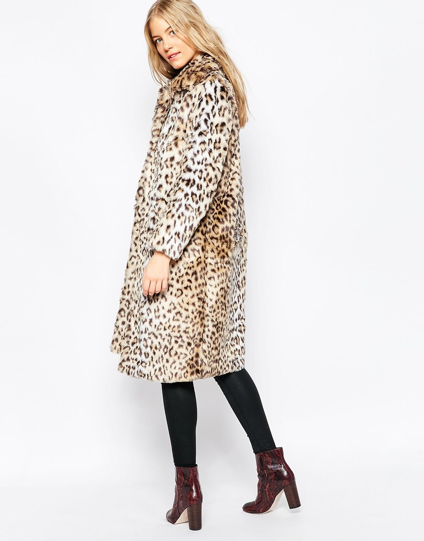 Ganni Gisele Long Faux Leopard Fur Coat | Lyst