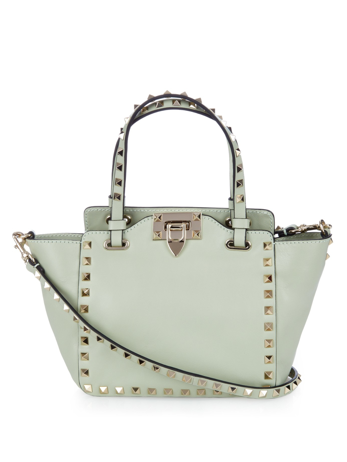 lyst valentino rockstud mini leather cross body bag in green. Black Bedroom Furniture Sets. Home Design Ideas