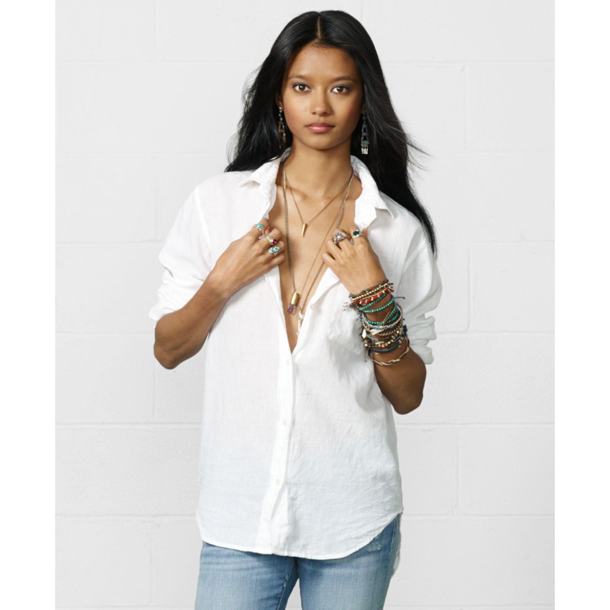 Lyst Denim Supply Ralph Lauren Gauze Boyfriend Shirt In White