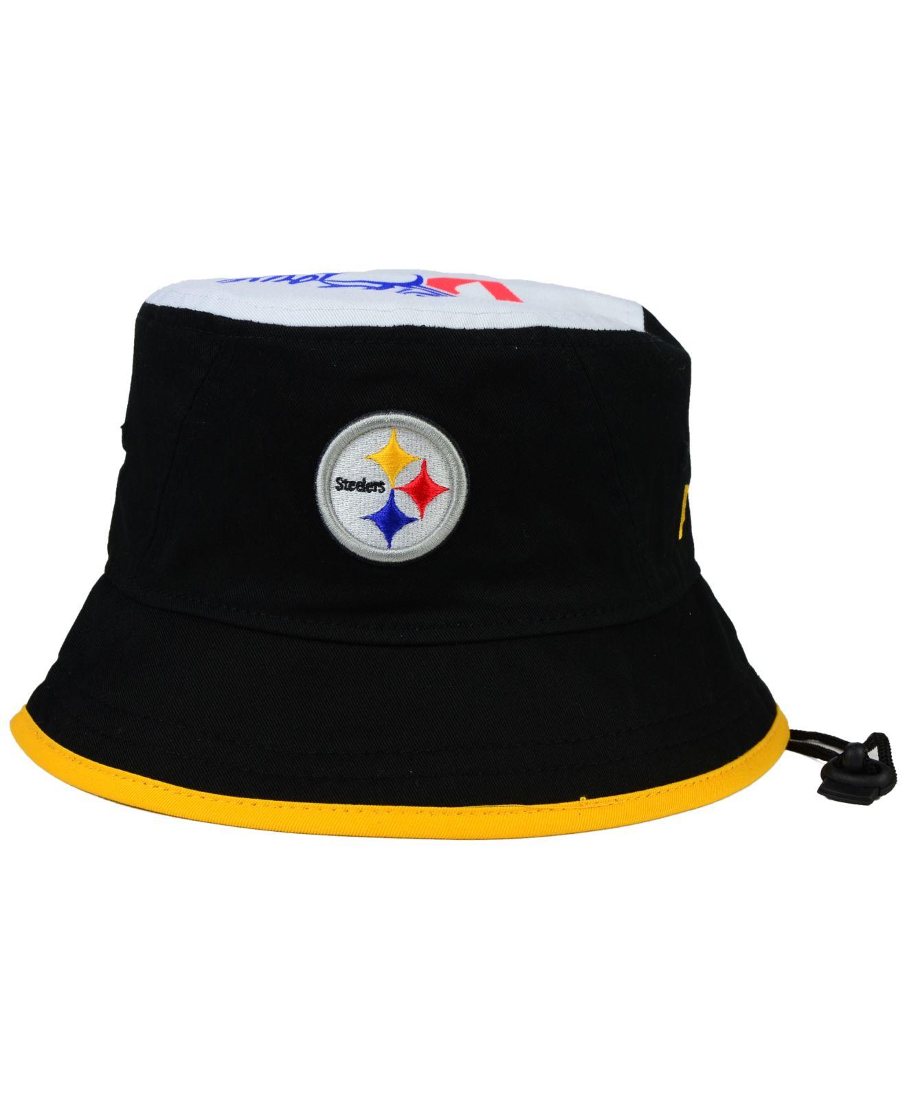 e7b024c3202 ... ebay lyst ktz pittsburgh steelers traveler bucket hat in black for men  d2c1a 6bcc1