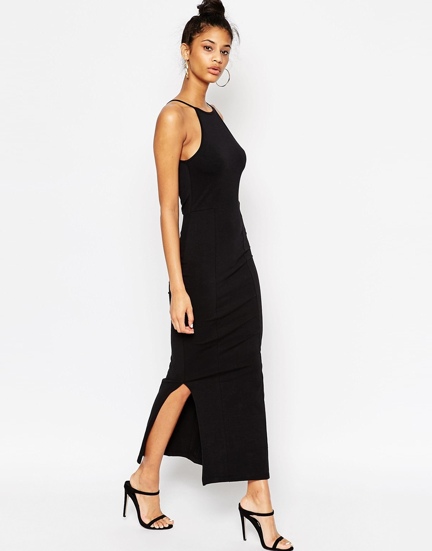 b48501d019 ASOS Asos Maxi Dress With 90s High Neck in Black - Lyst