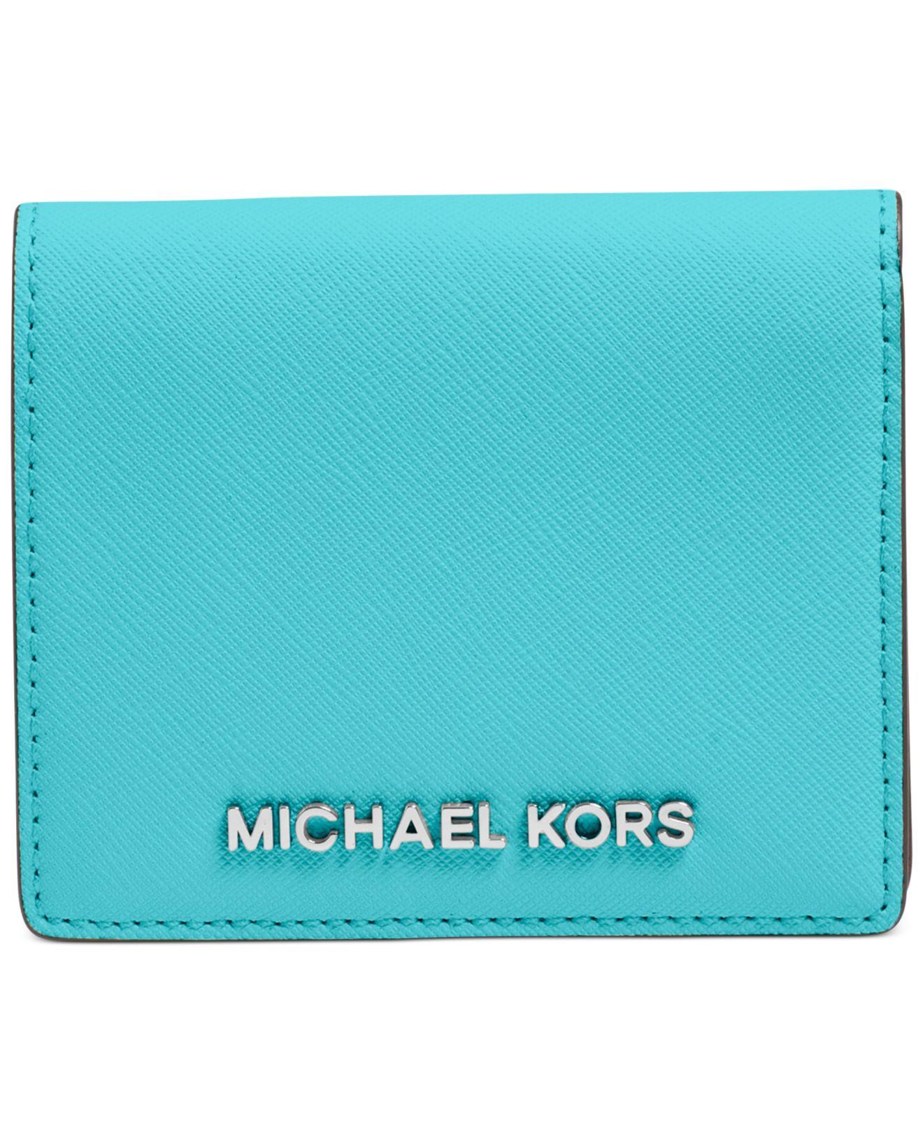 075f52bf5258 Lyst - Michael Kors Michael Jet Set Travel Flap Card Holder in Green