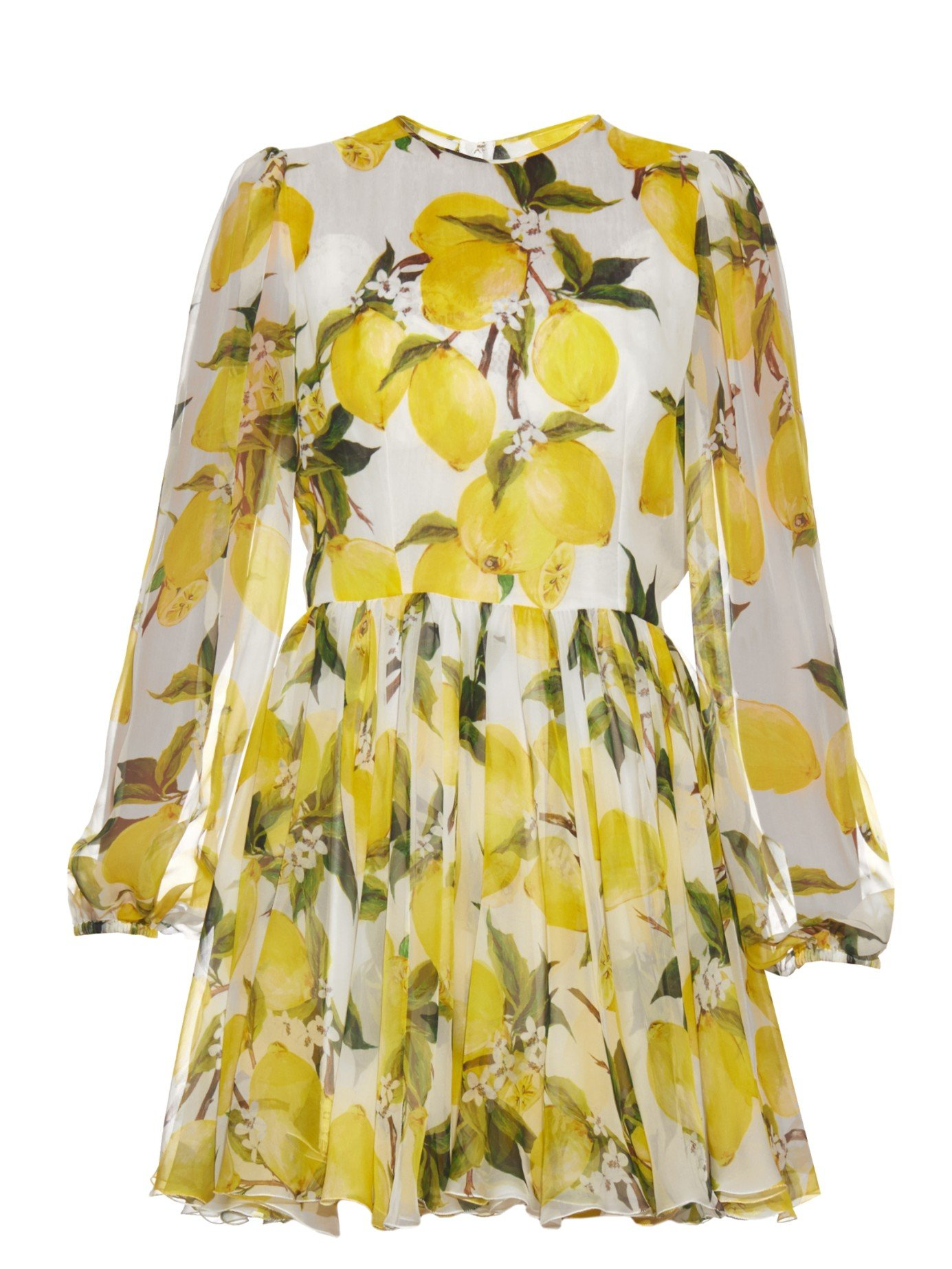 Lyst - Dolce   Gabbana Lemon-print Silk-chiffon Mini Dress in Yellow c9f859e2e8d29