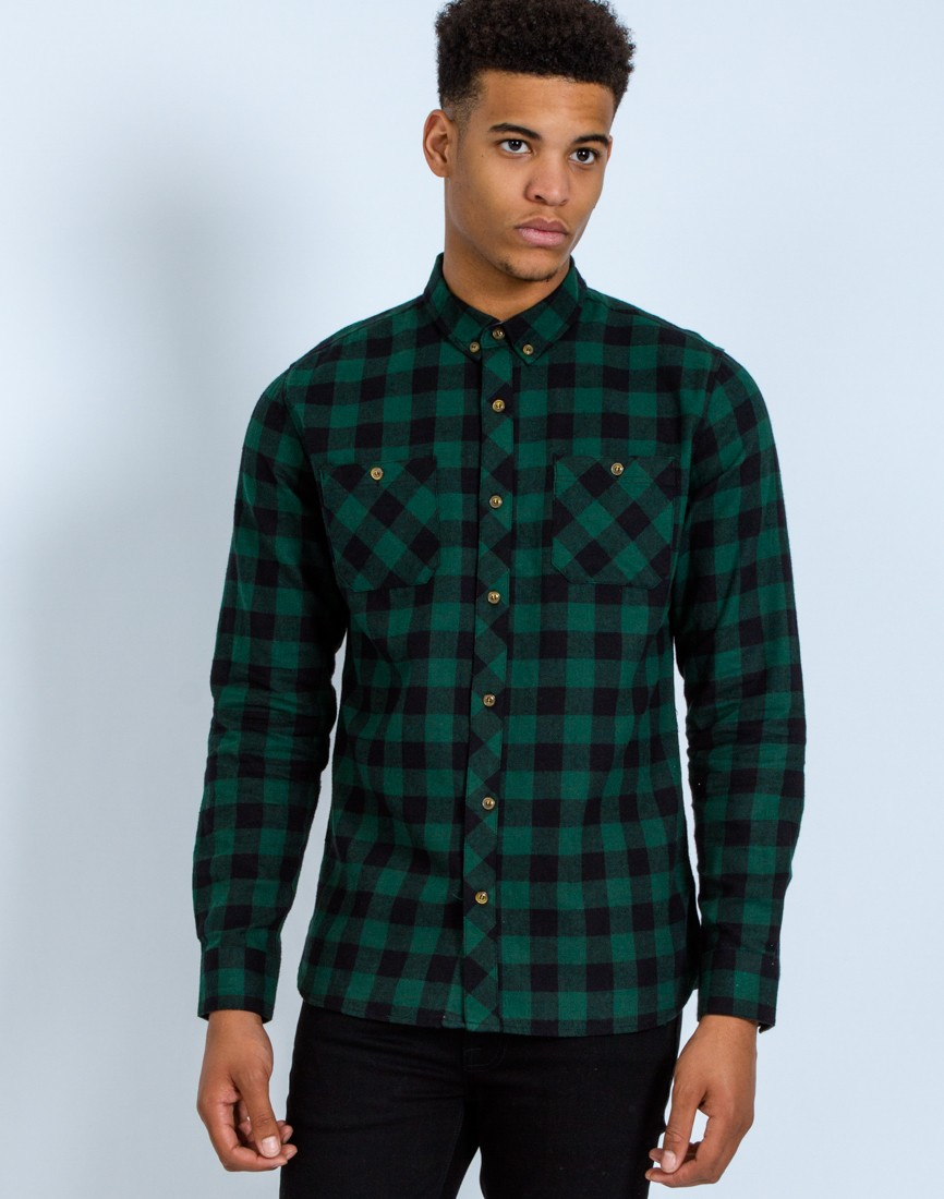 The idle man Check Shirt Green in Green for Men | Lyst