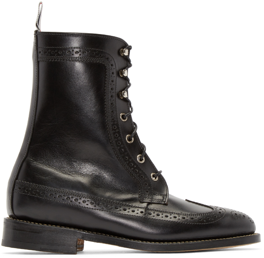 thom browne black classic longwing boots in black lyst