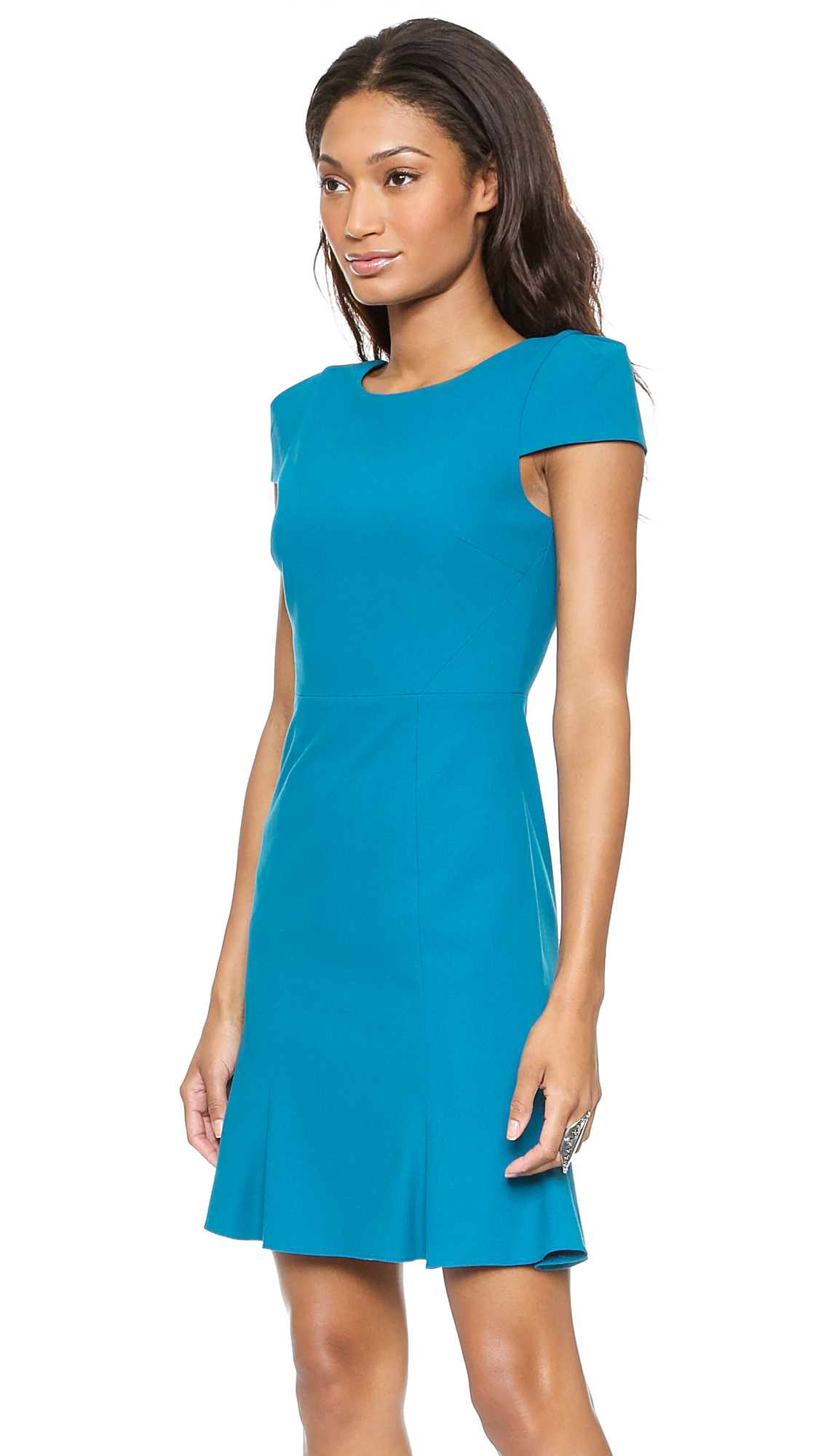Blue capped sleeve dress